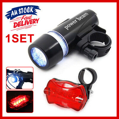 Safety Alarm Set 5 LED Lamp Bicycle Cycle Bike White Beam Light Head Tail Lights