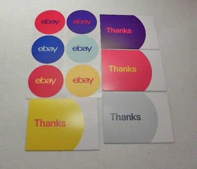 """20 Ebay Branded Thank You Postcards 5.5"""" x 4"""" and Round Stickers 3"""" Bundle"""
