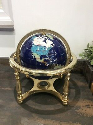 Large Semi Precious Gemstone Workd Globe On Gold Coloured Stand With Compass