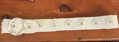 Vintage Cream And White Beaded Belt With Decorative Buckle