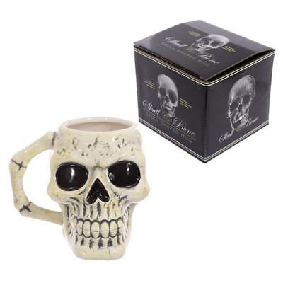 Skull Shaped Handle Novelty Gothic Coffee Mug Porcelain Tea Cup in Gift Box New