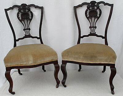 A Pair of Early Victorian Queen Anne Nursing Chairs