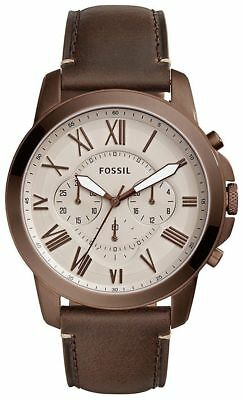 117badf45125 Fossil Grant Chronograph Grey Dial Brown Leather Strap Men s Watch Fs5344  New