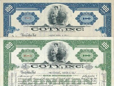 Set/Lot: 2 x Coty, Inc. 100 Shares, Delaware, 1936 und 1940, KOSMETIK