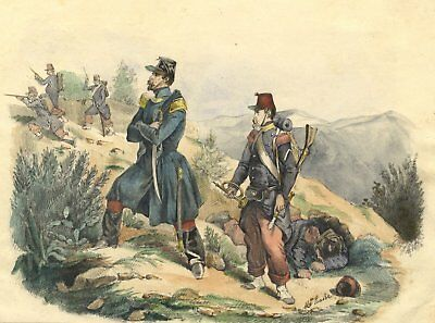 Maurice Hasse, French Line Infantry Soldiers - 19th-century watercolour painting