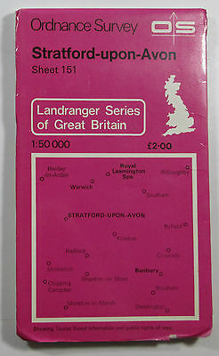1978 old OS Ordnance Survey 1:50000 Landranger Map 151 Stratfor-upon-Avon