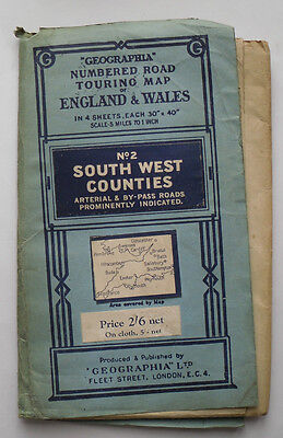 1947 Geographia Numbered Road Touring Map No 2 South West Counties - paper
