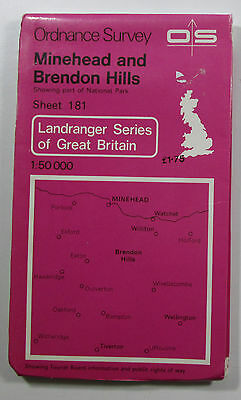1978 old OS Ordnance Survey 1:50000 Landranger Map 181 Minehead & Brendon Hills