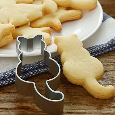 Cat Shape Cookie Cutter Stainless Cake Mold Fondant Pastry Biscuits DIY Tool 1pc