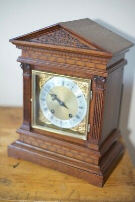 Ting Tang Bracket clock W&h. Light Oak finish. Immaculate condition