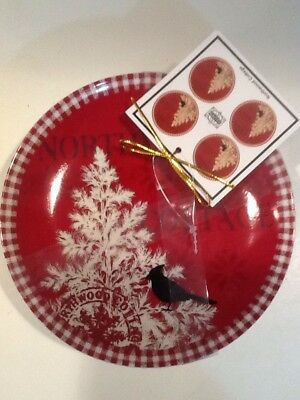 222Fifth Northwood Cottage Red Christmas Winter New 4 Appetizer  Dessert Plates
