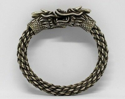 Large Vintage Oriental Chinese Sterling Silver Plated Dragon Bangle.