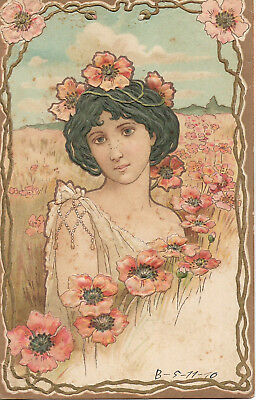 19??-Vintage Art Nouveau Pc Beautiful Woman- Signed-By Mucha-Old Pc-1