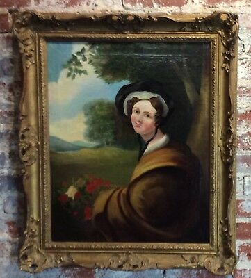 Antique French painting 19th century O/C portrait of a lady with original frame