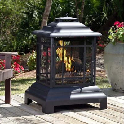 Outdoor Patio Firepit Backyard Deck Fire Pit Chiminea Wood Burning Fireplace NEW