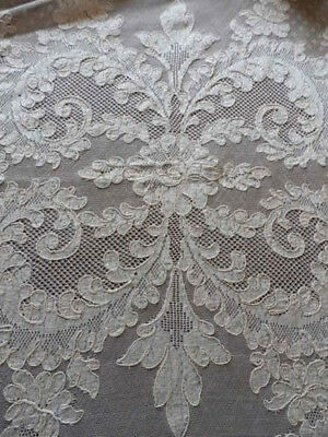 "French Alencon Lace Tablecloth Victorian Plumes 71""x106"" / 9 Napkins"