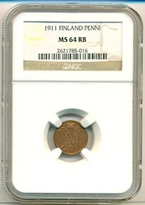 Finland (Under Russia) 1911 Penni MS64 RB NGC