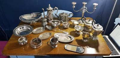 Paul's Antiques -a job lot of 21 vintage silver plated items,6 kgs in weight.