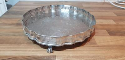 a beautiful antique silver plated gallery tray on clawed legs,made in sheffield.