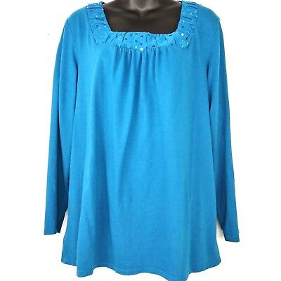 e0820b2c3f2 JMS Womens 1X Teal Blue Long Sleeve Sequin Shirt Blouse Just My Size Plus