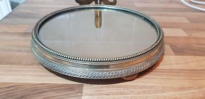 Paul's Antiques -a beautiful antique silver plated cake stand with a mirror top.