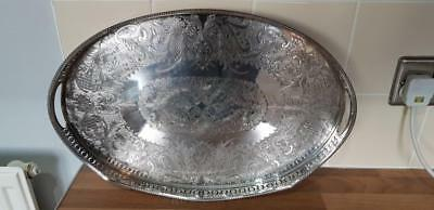 a beautiful antique silver plated rise and fall gallery tray on clawed legs.