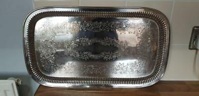 an elegant large vintage silver plated serving tray by psl of sheffield.