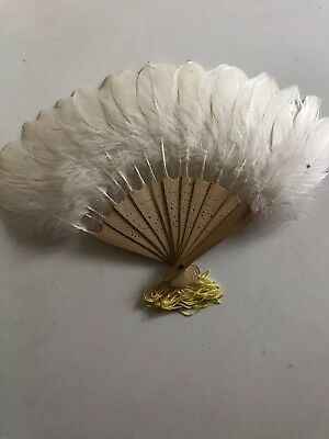 "Green/white Feather Fan Genuine Goose 14""folding Bridal Summer Beach"