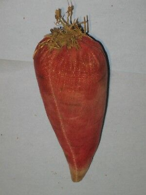 Nice Antique Painted VelvetCarrot Or VegetablePin Cushion 1850's Great Color