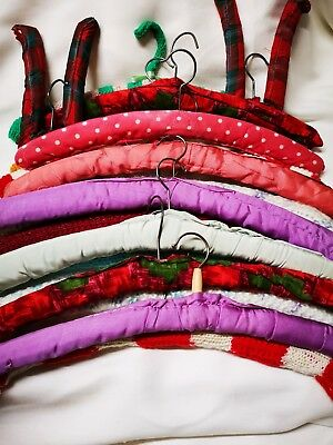 17 Vintage fabric & knitted coat hangers mixed lot multi colored original.