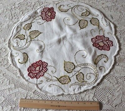 """Arts & Crafts/Art Nouveau Silk Society Work Embroidered Roses On Linen c1918~20"""""""
