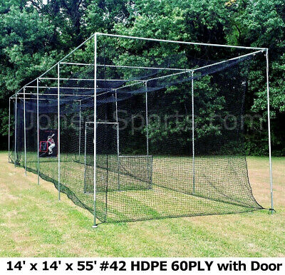 Batting Cage Net 14' x 14' x 55' #42 HDPE (60PLY) with Door Heavy Duty Baseball