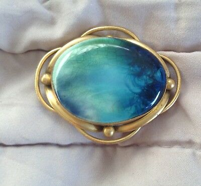 Antique Ruskin Aqua colour ceramic Liberty style brooch signed ruskin