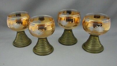 German Wine Glasses  Green Beehive Stems Roemer Gold Etched Design Lot 6