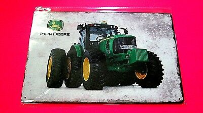 (JOHN DEER) Metal Tin Tractor SIGN Home Garage Wall Decor Farm machinery plaque