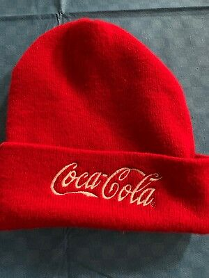 Vintage Coca Cola Sock Hat Beanie Embroidered Red White
