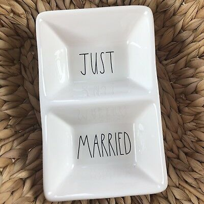 New Rae Dunn JUST MARRIED Divided Candy Dish Serving Tray Platter LL Long Letter