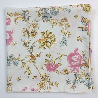 Vintage Square Tablecloth Ivory Pink Peonies Table Linen 52x52