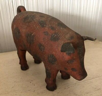 Antique Primitive Carved Wood Pig Folk Art Farm Animals Vintage Leather Ears