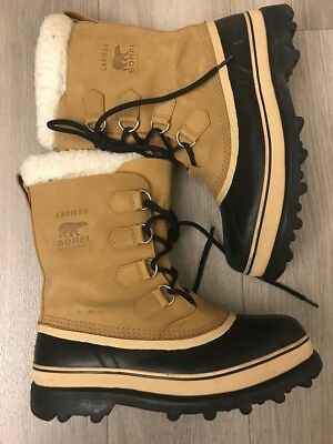 Sorel Caribou Mens Brown Leather Lace Up Snow/winter Boots Size Us 11 Msrp $160