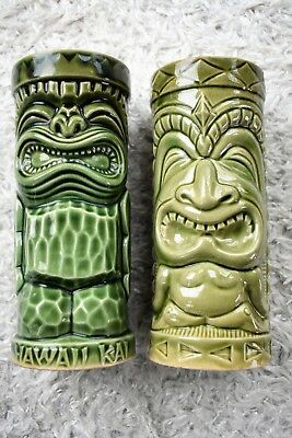 (2) Hawaiian Tiki pottery glasses green & yellow VG+ cond. one from NYC