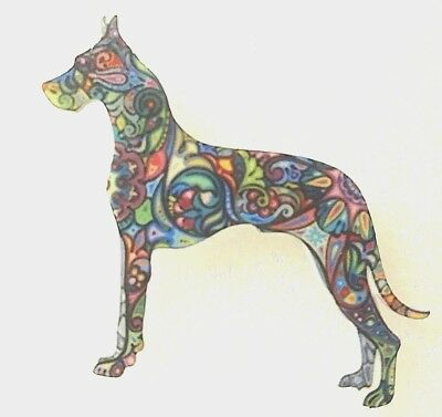 Great Dane Cropped Ears Standing Large Multicolor Acrylic Pin Brooch Jewelry