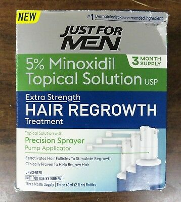 Just For Men Hair Regrowth Treatment, 3 Month Supply, 6 Fluid Ounce Exp 10/19