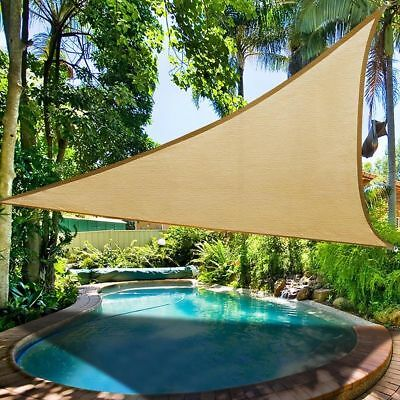 11.5' UV Proof Triangle Sun Shade Sail Desert Sand Pool Outdoor Deck Yard Cover