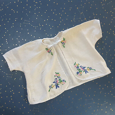 Vintage Baby Diaper Shirt Embroidered Bluebirds Cotton Flannel Tie Front 1950s