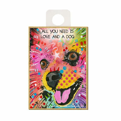 Pomeranian All You Need Is Love And A Dog Dean Russo Wood Fridge Magnet