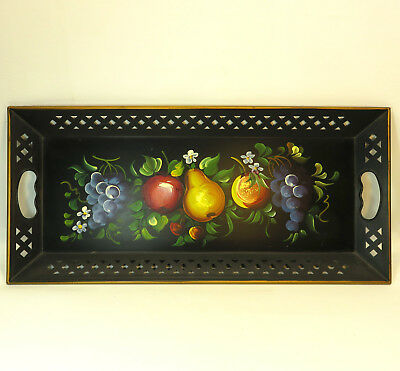 """Vintage Naschco Large Hand Painted Fruit Floral Tole Black Metal Tray 22"""" x 10"""""""