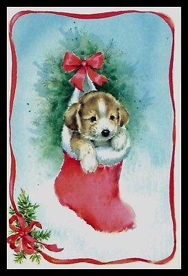 070-AUC DOG PUPPY Christmas Greeting Card VINTAGE
