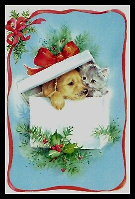 071-AUC CAT DOG KITTEN PUPPY Christmas Greeting Card VINTAGE
