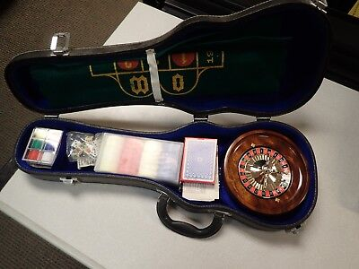 Prohibition Style Travel Gaming Casino with Cards, Chips, Dice in Violin Case